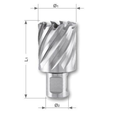 Korunkový vrták HSSE-Co 5 so stopkou Weldon, rezná hĺbka 30mm