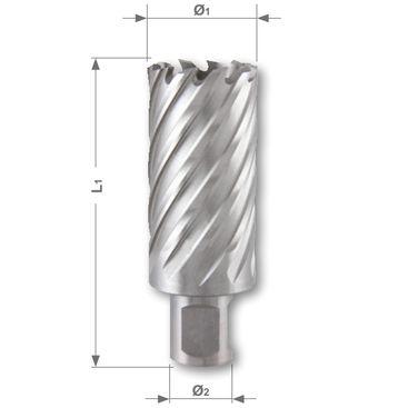 Korunkový vrták HSSE-Co 5 so stopkou Weldon, rezná hĺbka 55mm