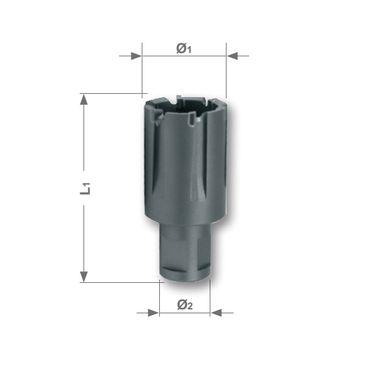 Korunkový vrták s britmi z tvrdokovu so stopkou Weldon pre železničné kolajnice, rezná hĺbka 30mm