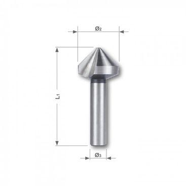 Kužeľový a odihľovací záhlbník HSS, tvar C, 90°